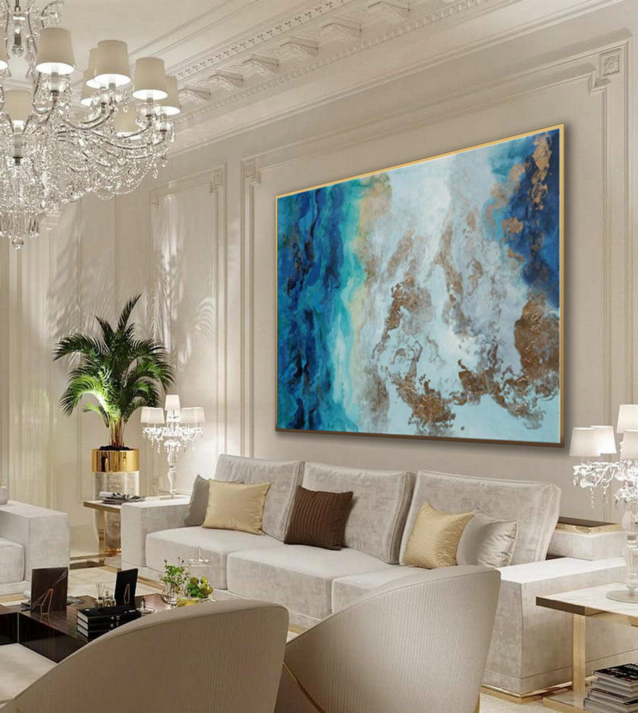 Large Modern Gold Fluid Art Hand Painted Acrylic Abstract Wall Art Painting On Canvas for Dining Living Room Office Decor Art Work