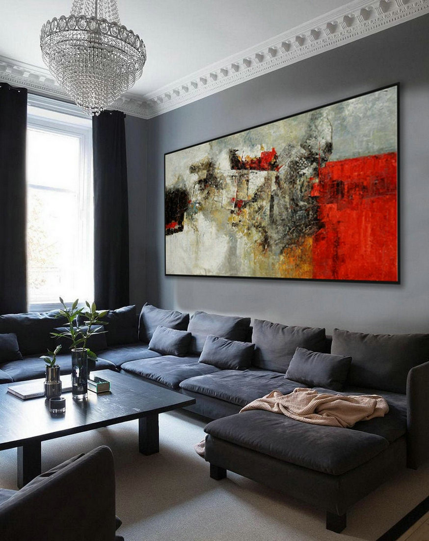 Super Extra Large Oversize Panoramic Canvas Modern wall Art Hand Made Abstract Oil painting Living -Dinner Room Office Hotel