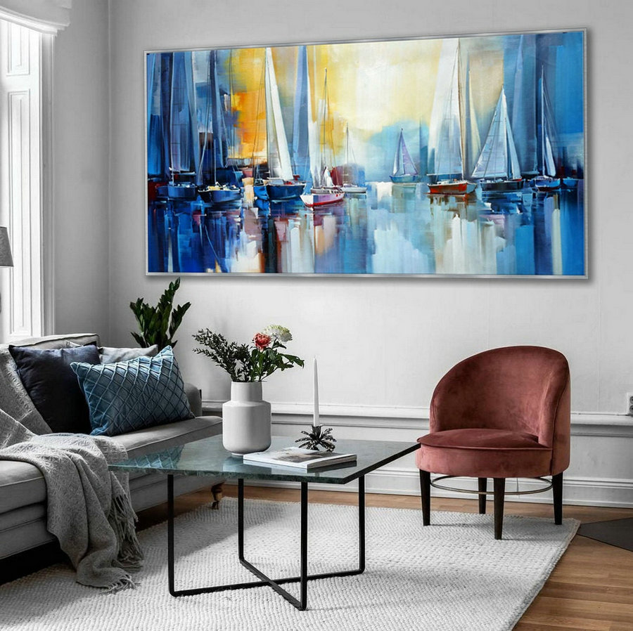 Regatta Seascape Sailing Boat Sailboat Yachting Hand Painted Modern Impressionist oil painting on Canvas Living Room Office Hotel Wall Art