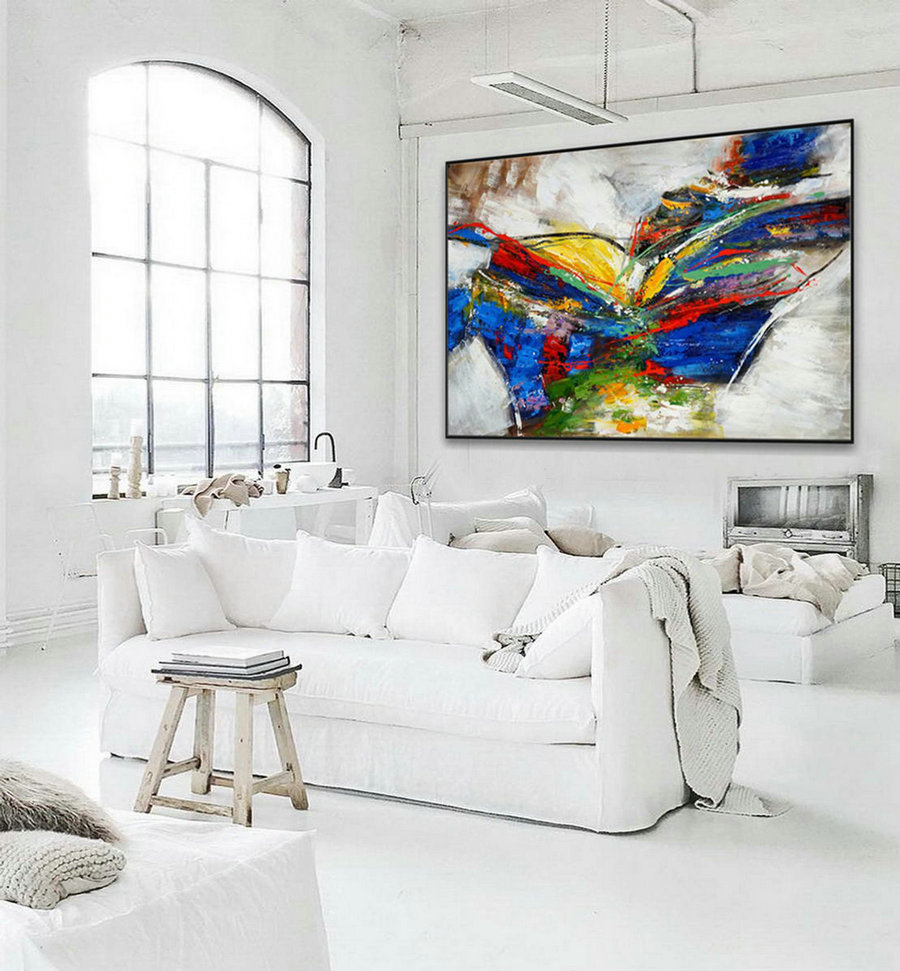 Texture Abstract Oversize Modern Contemporary Canvas wall Art Handmade Extra Large Oversize Textured Horizontal Acrylic painting 72""