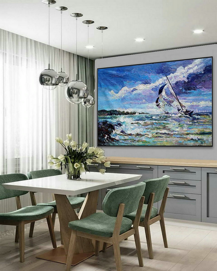 Modern Seascape Contemporary Abstract wall Art Coastal Beach Sea Sailing Boat Panoramic Palette Knife Thick Oil Painting on Canvas
