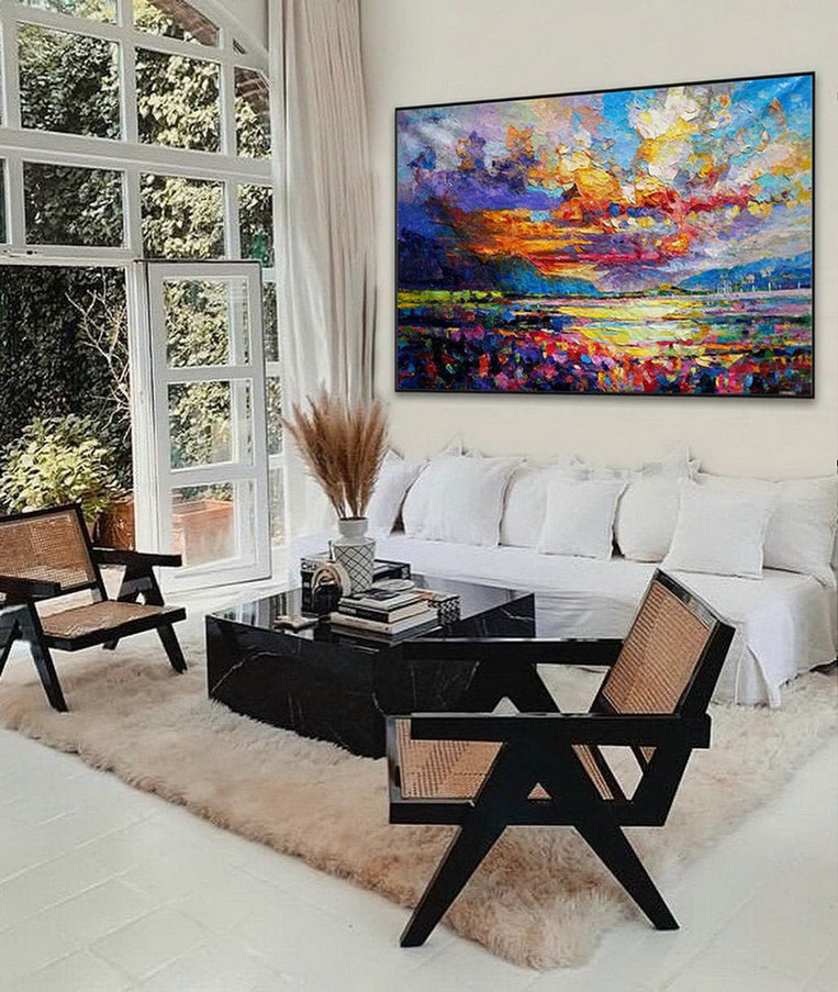 Modern Seascape Contemporary Abstract wall Art Coastal Beach Sea Sunset Sunrise Panoramic Palette Knife Thick Oil Painting on Canvas