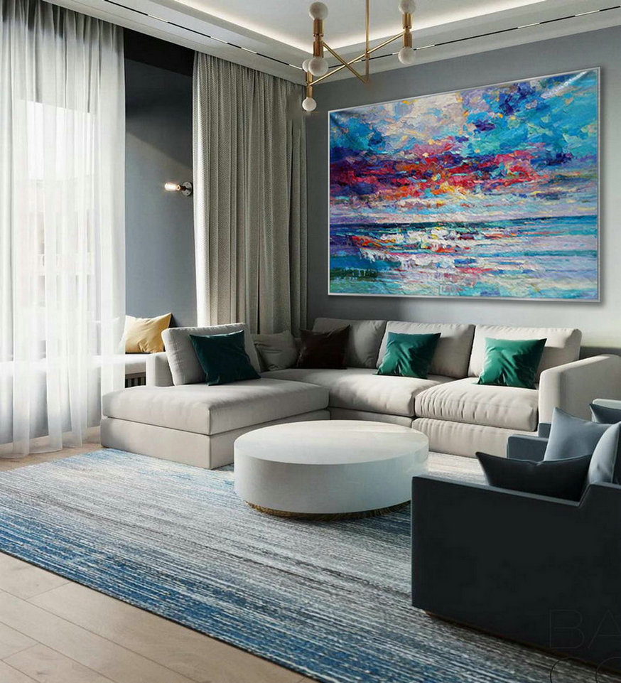 Modern Seascape Contemporary Abstract wall Art Coastal Beach Sea Sailing Panoramic Palette Knife Thick Oil Painting on Canvas 48x72""