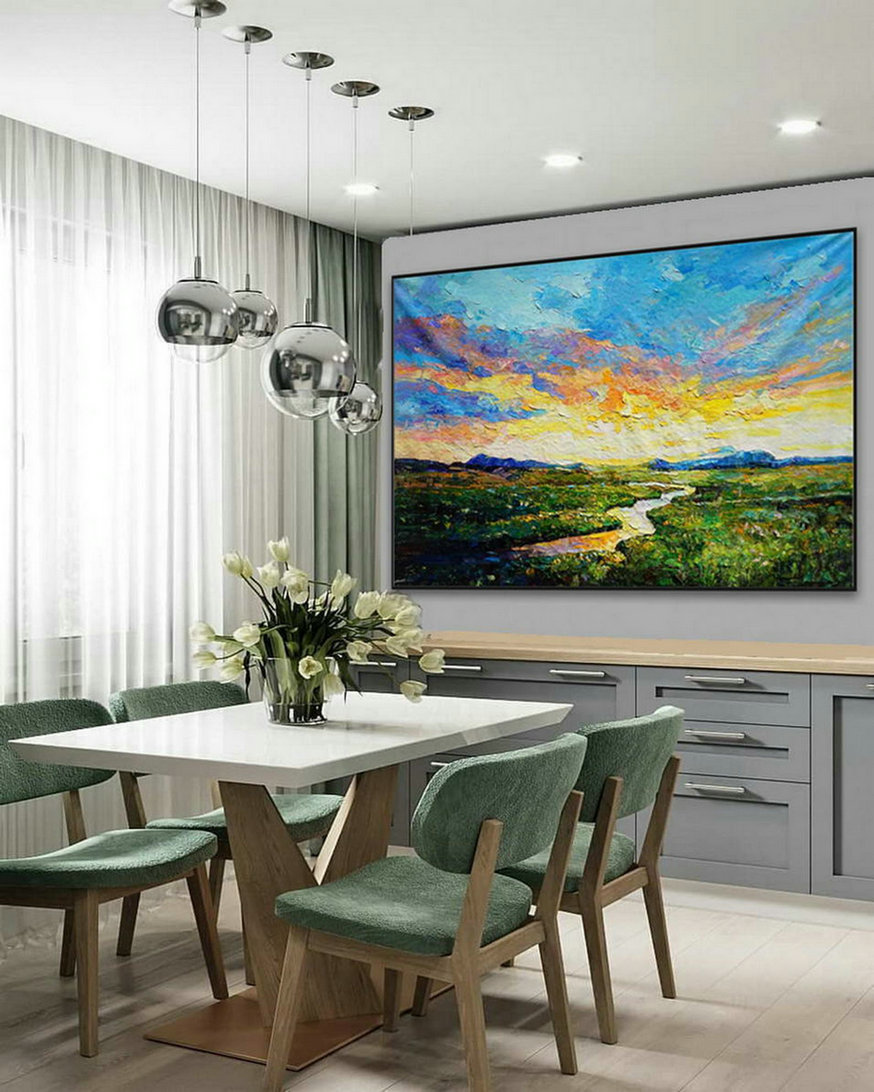 Modern Panoramic Landscape Contemporary Abstract wall Art Countryside Field Sunset Sunrise Palette Knife Thick Oil Painting on Canvas
