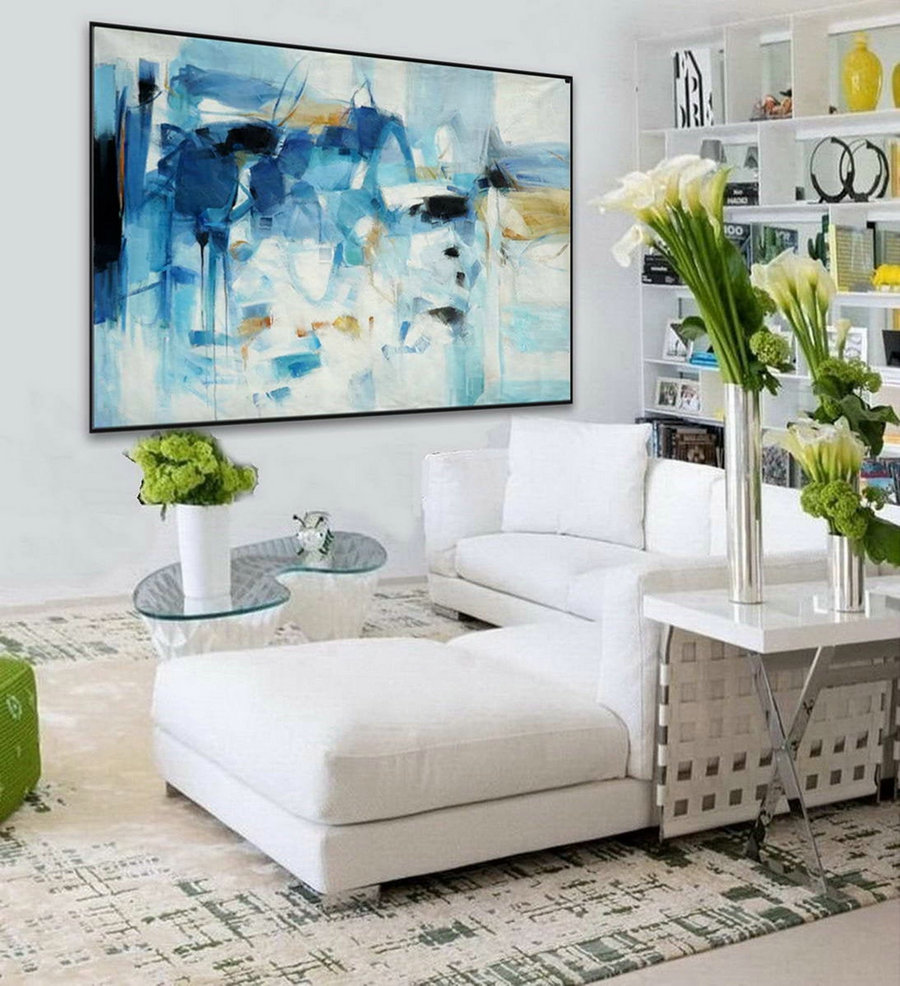 Soft tones Color Pastel feminine Modern Abstract Wall Art Decor Large Contemporary Horizontal Brush Strokes Canvas Oil Painting