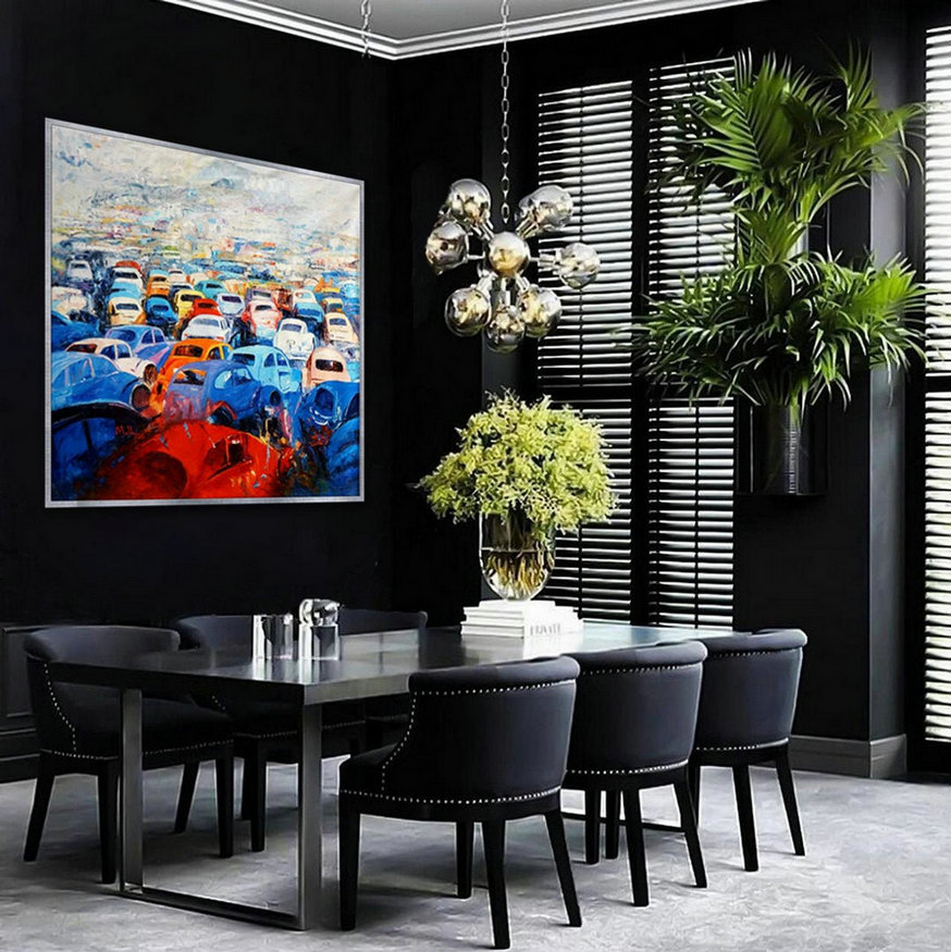 "Abstract Wall Art Hand painted Oil Palette Knife Oversize Large Square Painting on Canvas 60 x 60"" for Living Dining Room Office"