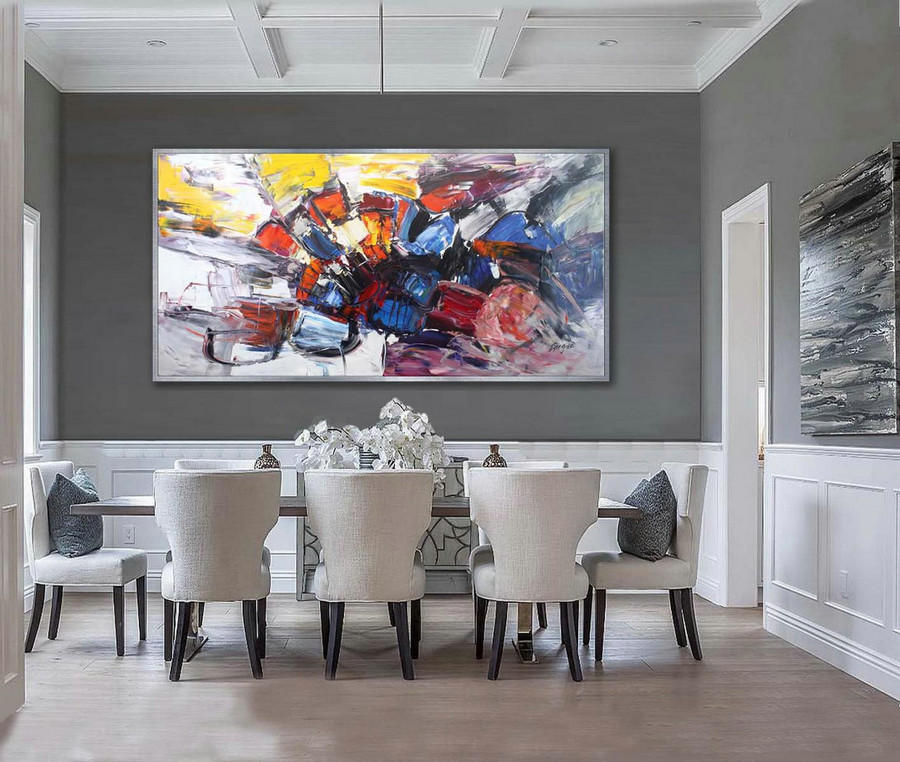 Colorful Thick Oil Abstract Super Extra Large Oversize Panoramic Canvas Modern wall Art Hand Made Bright Color Original Oil painting