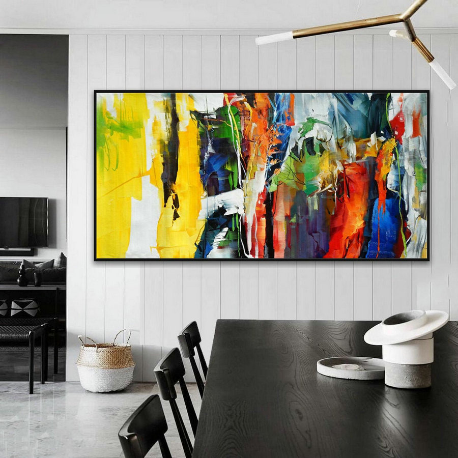Bright Colorful Abstract Super Extra Large Oversize Panoramic Canvas Modern wall Art Hand Made Oil painting Living -Dinner Room Office Hotel
