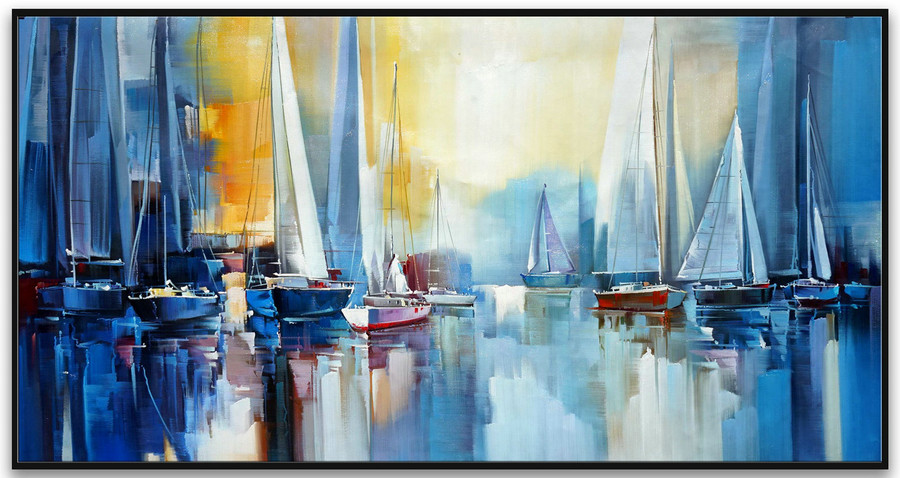 ZOPT107 hand painted SAILING BOAT SEASCAPE sea wave ART OIL PAINTING ON CANVAS