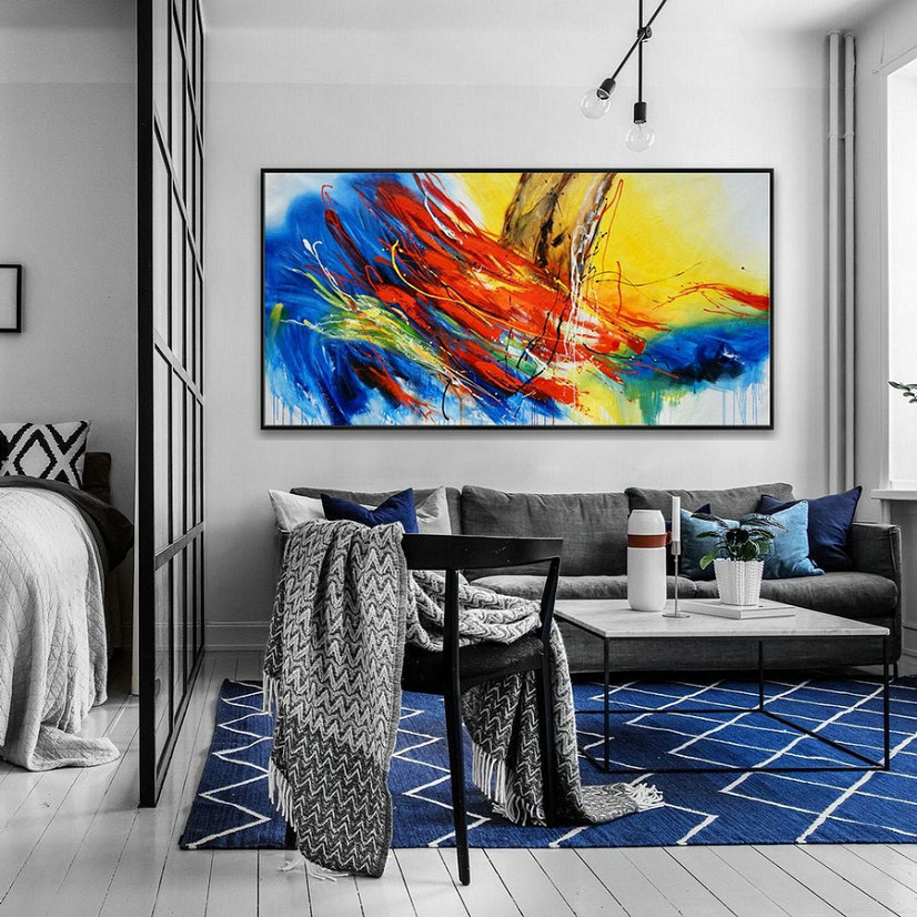 Hand Painted Texture Abstract Panoramic Canvas Modern wall Art Super Extra Large Oversize Acrylic painting Living Dinner Room