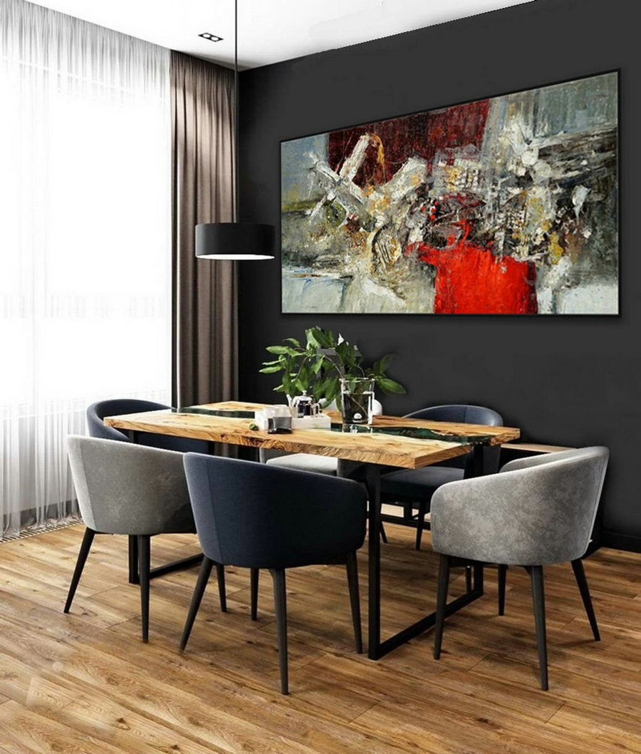 Colorful Modern Contemporary Artwork Large Horizontal Panoramic Abstract Wall Art Hand Made Palette Knife Thick Oil Painting Canvas