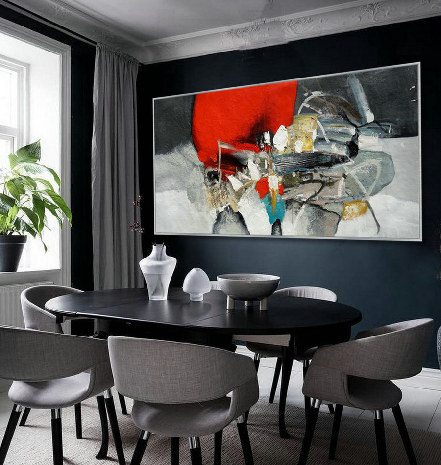 Beautiful Colorful Black Red Modern Abstract Wall Art Decor Large Contemporary Canvas Refined Wall Art Acrylic Painting 36x72""
