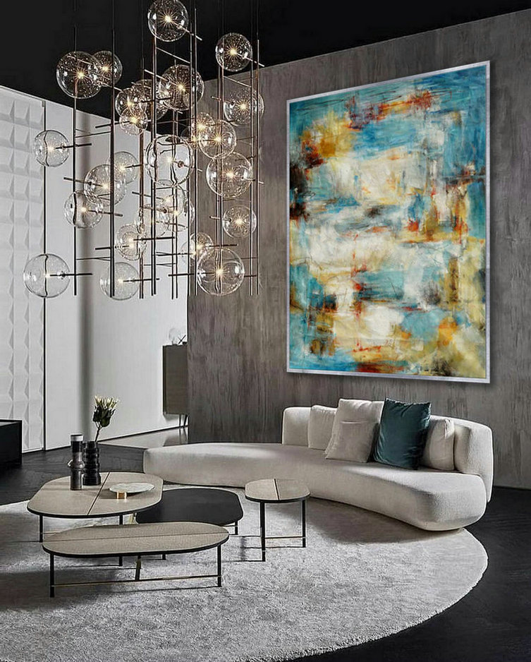Modern abstract Super Extra Large Oversize Vertical Canvas wall Art Hand Made Oil painting for Cozy Living Dinner Room Office