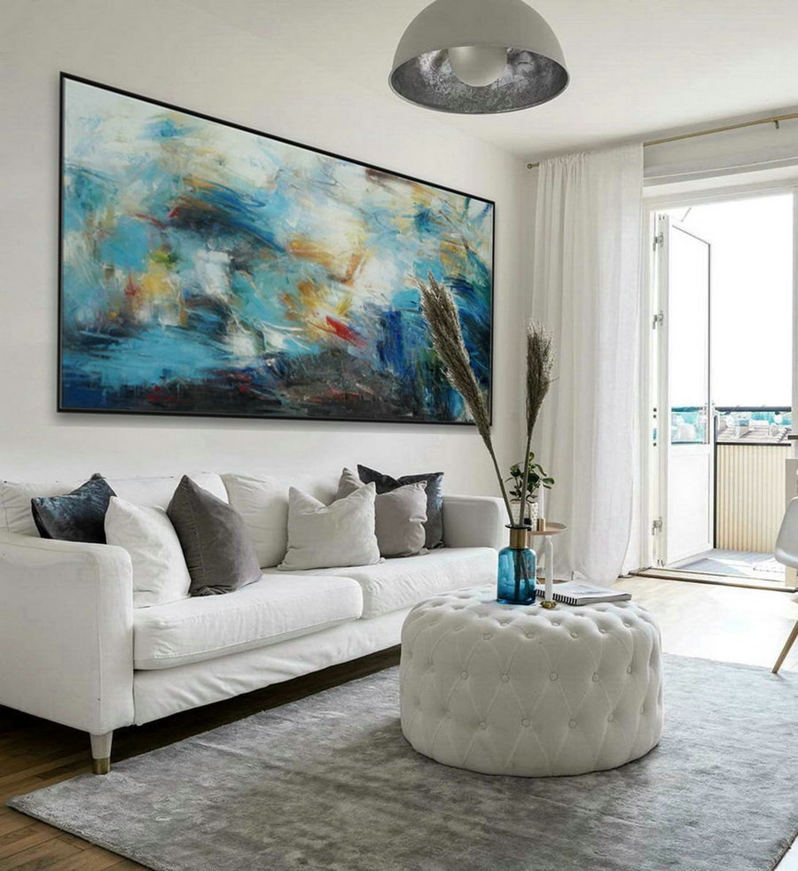 "Soft Tone Colors Modern Contemporary Art Work Large Panoramic Horizontal Wall Abstract Oil Painting On Canvas 36 x 72"" / 90x180cm"