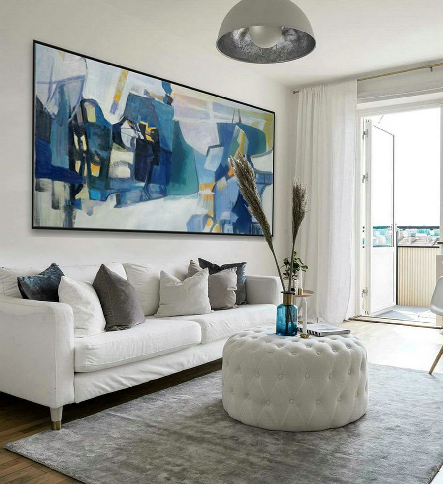 White Blue Modern Contemporary Artwork Large Horizontal Panoramic Abstract Wall Art Brush Strokes Acrylic Painting on Canvas 36 x 72""