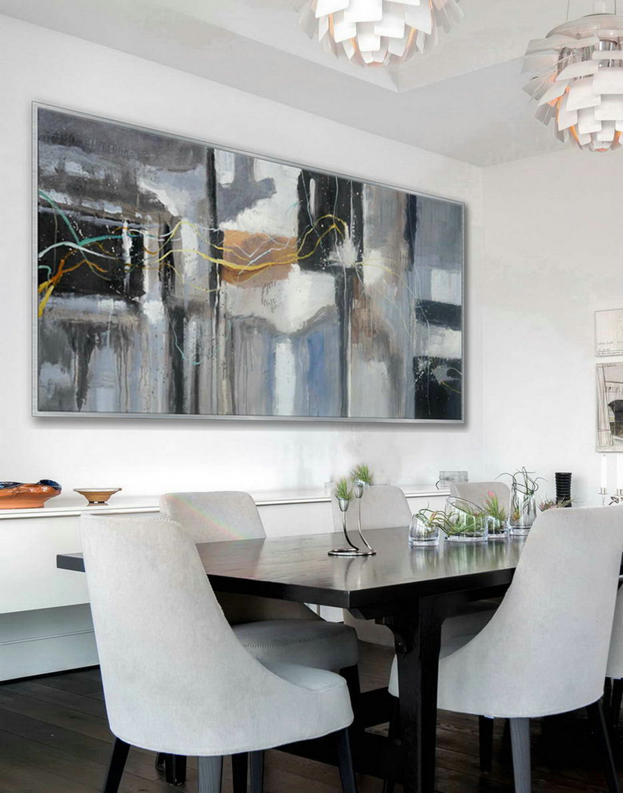 "Gray Modern Contemporary Artwork Large Horizontal Panoramic Abstract Wall Art Brush Strokes Acrylic Painting on Canvas 36 x 72"" L"