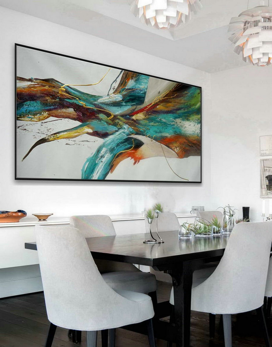 Large Colorful Panoramic Horizontal Abstract Wall Art Modern Contemporary Artwork Acrylic Painting On Canvas Long Slim Oversize 72""