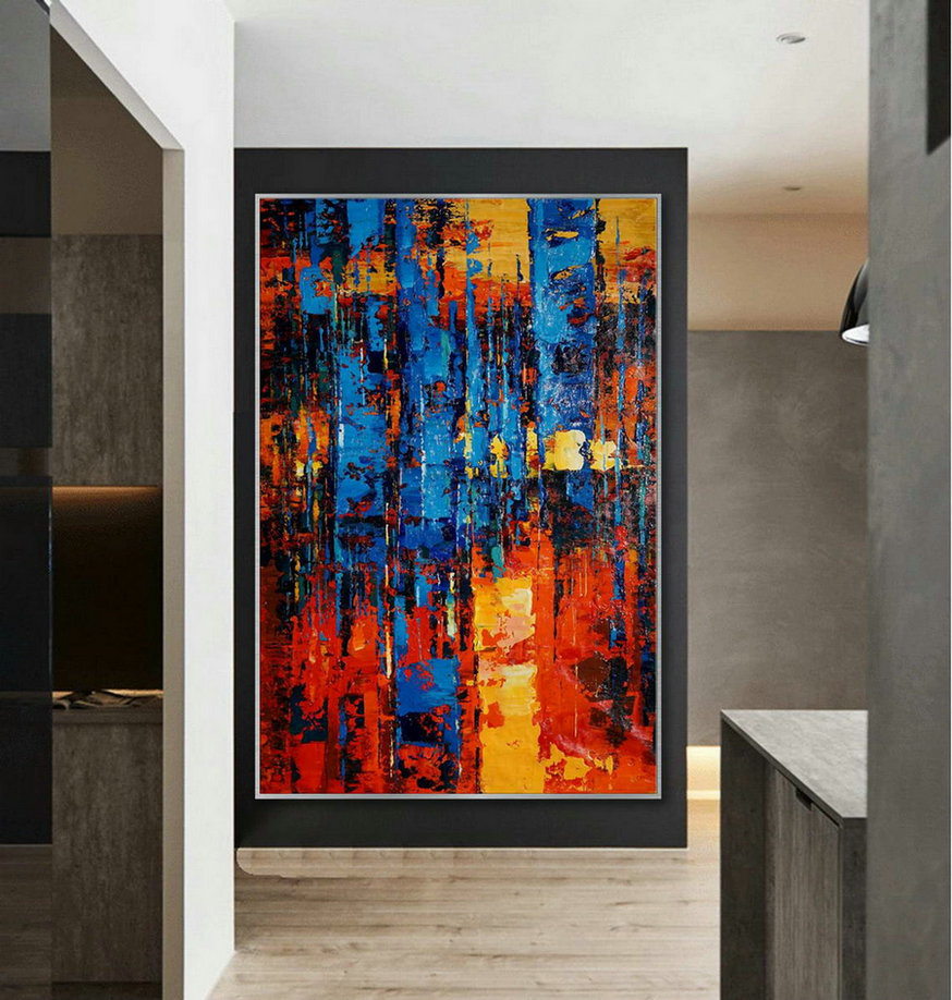 Large Colorful Vertical Modern Contemporary Abstract wall Art Palette Knife Thick Strong Color Oil Painting Artwork on Canvas 48 x 72