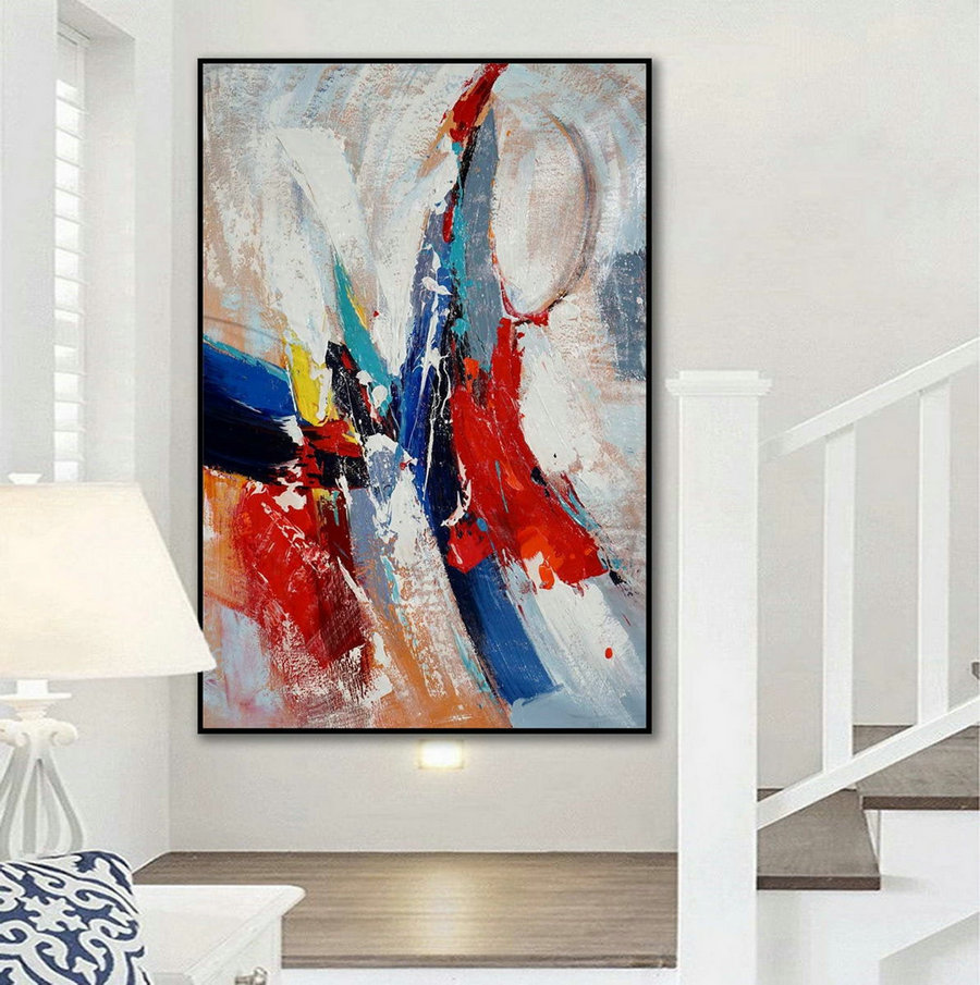 Extra Large Vertical Modern Art Work Contemporary Abstract wall Art Palette Knife Thick Acrylic Painting Artwork on Canvas 48 x 72""