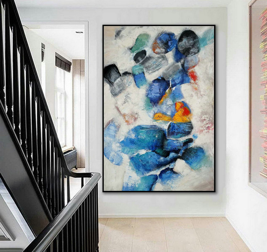 "Extra Large Colorful Vertical Modern Artwork Contemporary Abstract wall Art Thick Texture Acrylic Painting on Canvas 48 x 72"" /180cm"