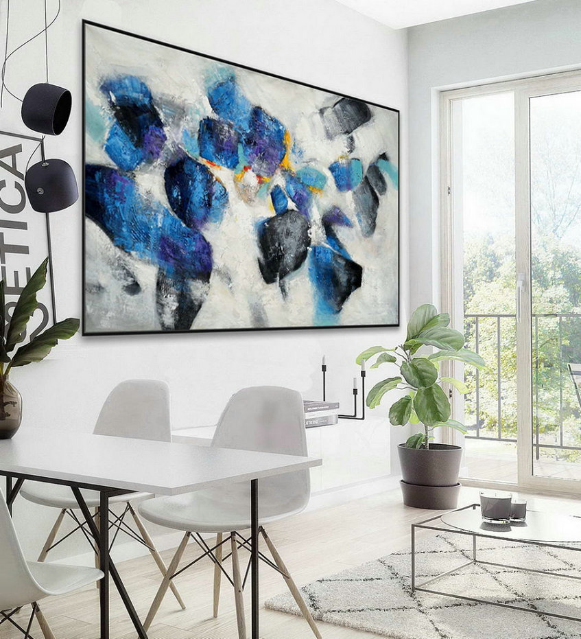 "Extra Large Horizontal Modern Contemporary Abstract wall Art Thick Texture Acrylic Painting Artwork on Canvas 48 x 72"" / 120x180cm"