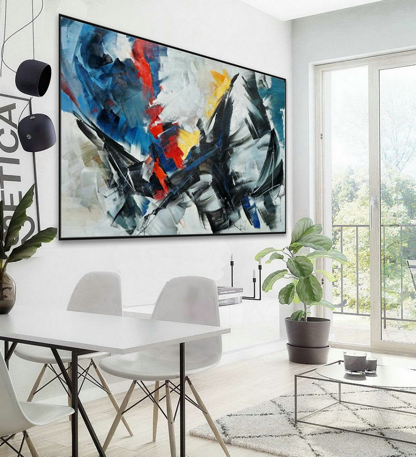 Extra Large Horizontal Modern Contemporary Abstract Decor wall Art Brush Strokes Oil Painting Oversize Canvas Artwork 48 x 72""