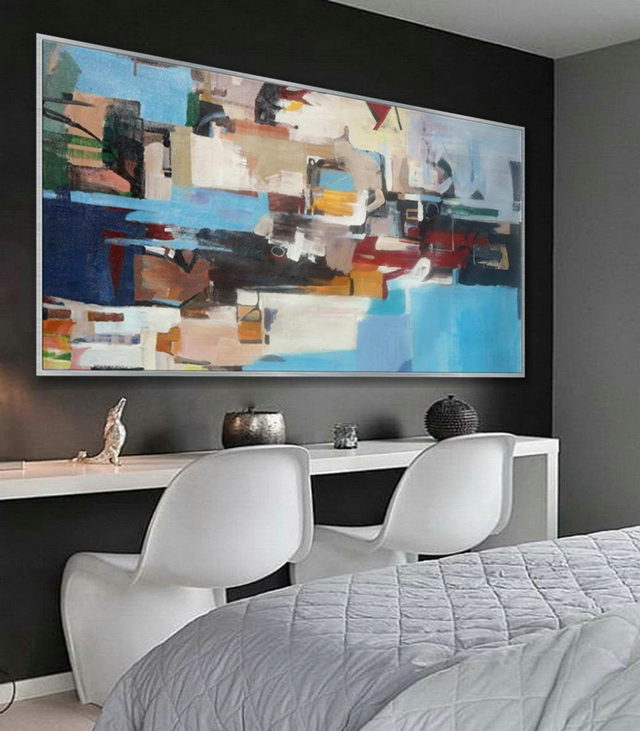 Bright Colorful Modern Contemporary Artwork Large Horizontal Panoramic Abstract Wall Art Brush Strokes Acrylic Painting on Canvas