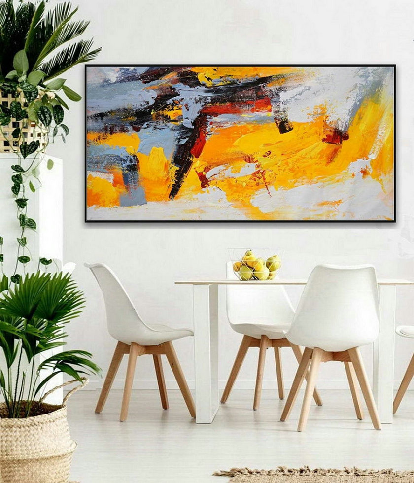 Modern Contemporary Palette knife Art Work Long Slim Large Panoramic Horizontal Thick Texture Acrylic Abstract Wall Art Painting
