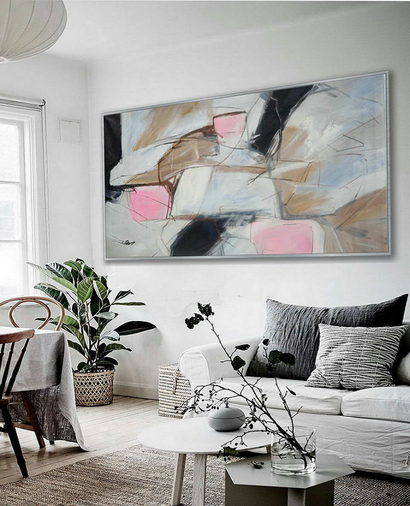 Soft Tone Colors Modern Contemporary Artwork Large Horizontal Panoramic Abstract Wall Art Brush Strokes Acrylic Painting on Canvas