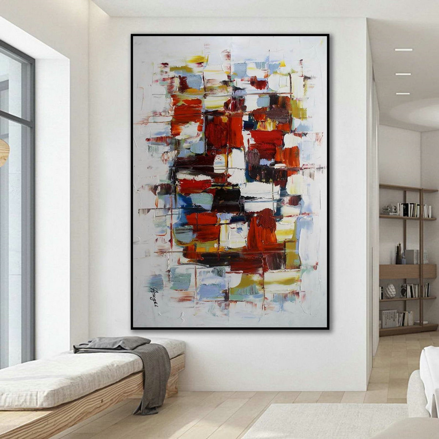 "Modern Contemporary Abstract wall Art Palette Knife Thick Colorful Oil Painting on Canvas 48 x 72"" / 120x180cm"