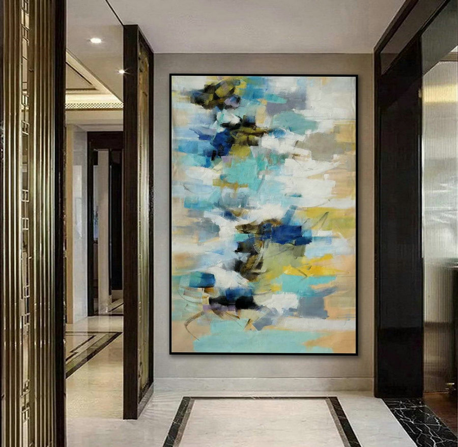 Soft Color abstract Soft Tones Modern Abstract Wall Art Decor Large Contemporary Vertical Brush Strokes Canvas Oil Painting 48x72""
