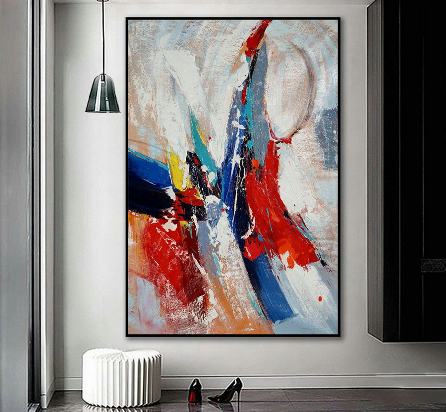 Extra Large Vertical Modern Art Work Contemporary Abstract