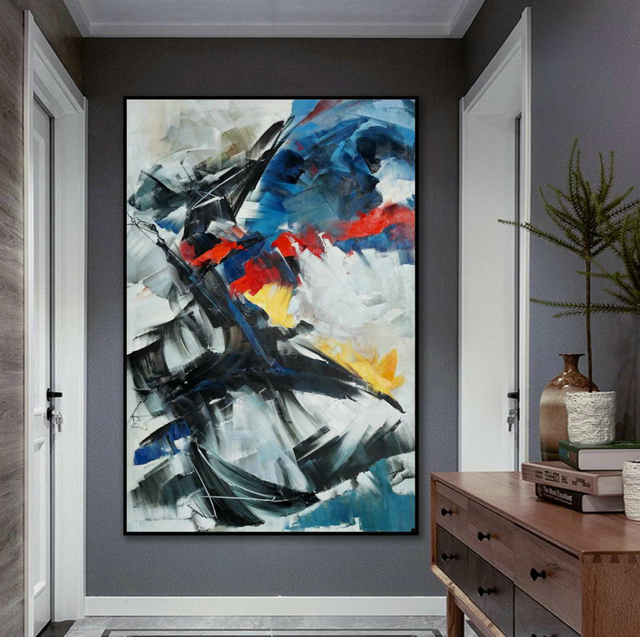 Beautiful Bright Color Modern Abstract Wall Art Decor Extra Large Colorful Contemporary Brush Strokes Vertical Canvas Oil Painting