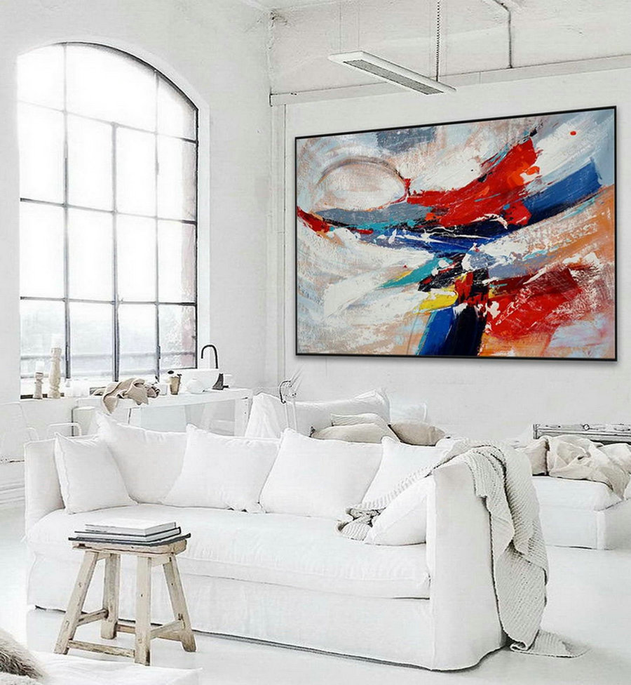 Extra Large Colorful Horizontal Modern Contemporary Abstract wall Art Palette Knife Thick Strong Color Acrylic Painting Artwork