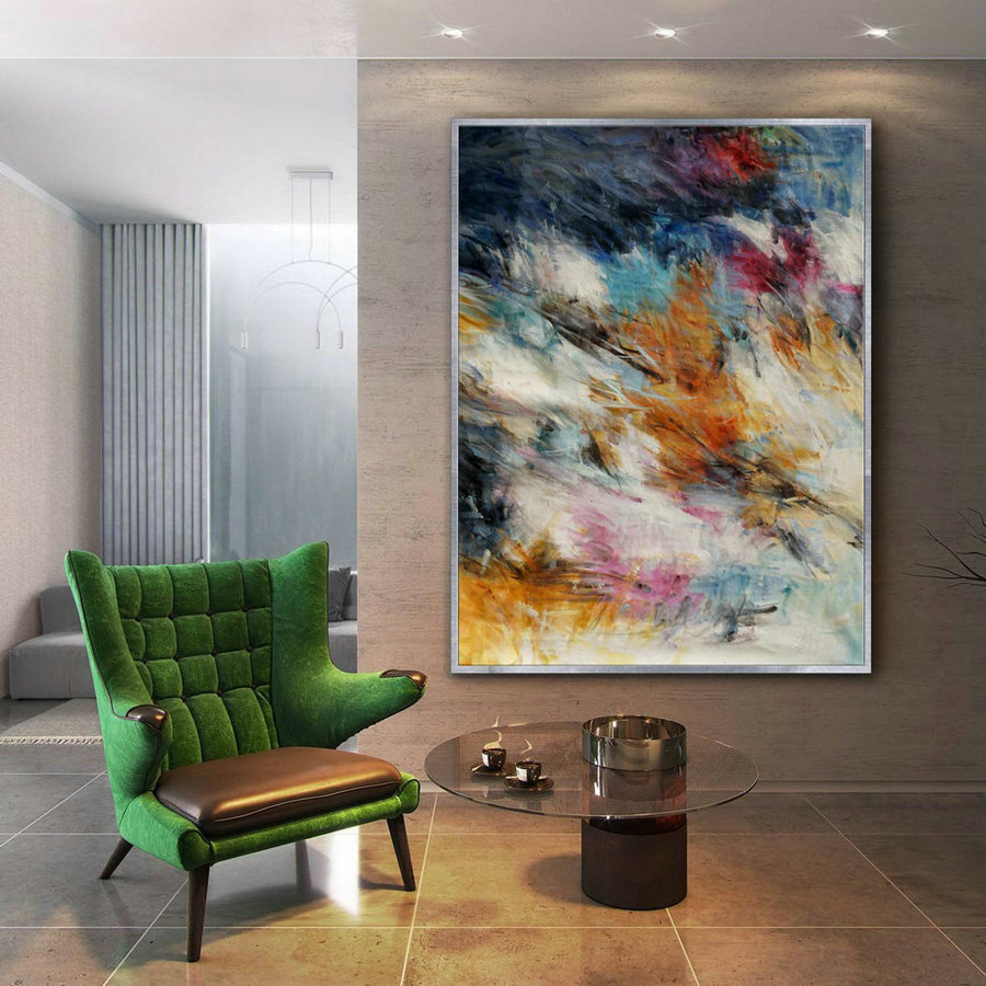 Colorful abstract Super Extra Large Oversize Vertical Canvas Modern wall Art Hand Made Oil painting for Cozy Living Dinner Room Office