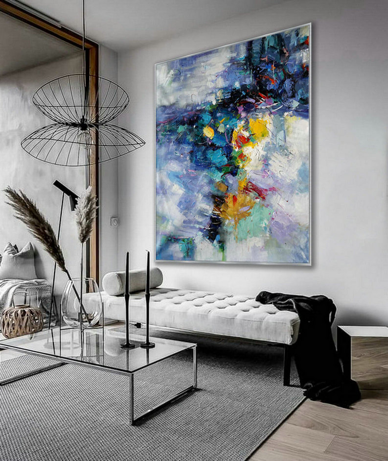 "Extra Large Palette Knife Acrylic Painting On Canvas Oversize Vertical Modern Contemporary Wall Art Home Office Decor 60x80"" / 150x200cm XXL"
