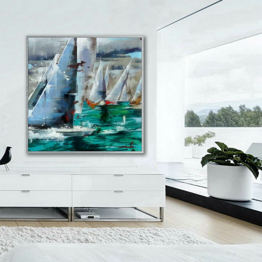 Brush Strokes Contemporary Artwork Extra Large Square Colorful Modern Abstract Oversize Wall Art Sailing Boat Hand Made Canvas Oil Painting